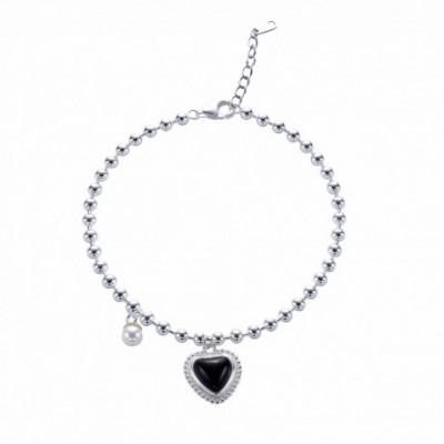 Black Agate Heart Silver Beads Bracelet