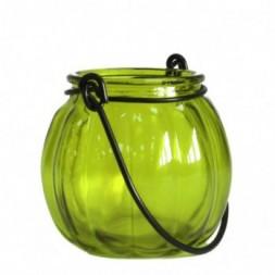 Recycled Pumpkin Candle Lantern - Moss