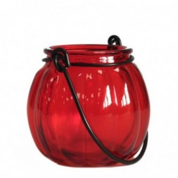 Recycled Pumpkin Candle Lantern - Ruby