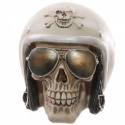 Sun Glasses and Helmet Skull Ornament