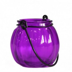 Recycled Pumpkin Candle Lantern - Lavender