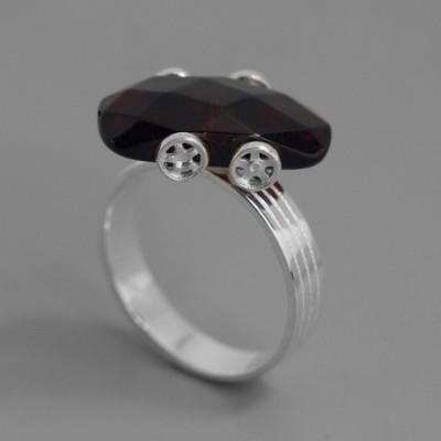 Amber Car Silver Ring