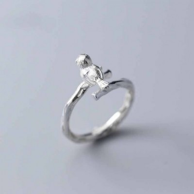Bird Tree Branch Silver Adjustable Ring