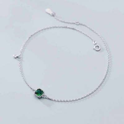 Classic Green Square  Gemstone Silver Anklet