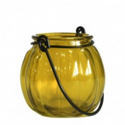 Recycled Pumpkin Candle Lantern - Yellow