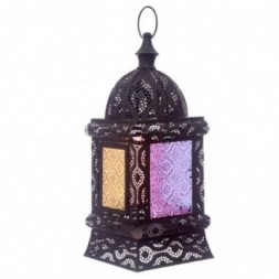 Black Intricate Glass Moroccan Style Standing Lantern