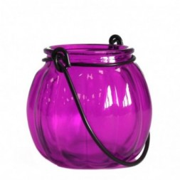 Recycled Pumpkin Candle Lantern - Violet