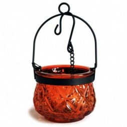 Moroccan Style Hanging Candle Lantern - Amber