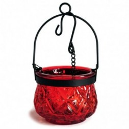 Moroccan Style Hanging Candle Lantern - Ruby