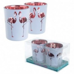 Glass Candleholder Set of 2 - Flamingo Design