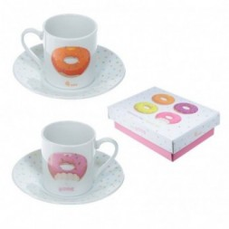 Donut - Set of 2 Espresso Cup and Saucer