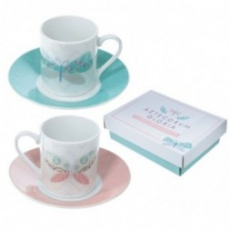 Butterfly - Set of 2 Espresso Cup and Saucer