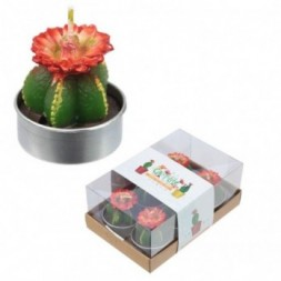 Mini Candles - Cactus with Red Flower Set of 6 Tea Lights