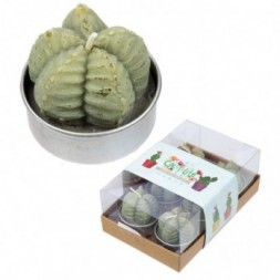 Mini Candles - Ridged Cactus Set of 6 Tea Lights