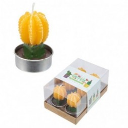 Mini Candles - Cactus with Yellow Flower Set of 6 Tea Lights