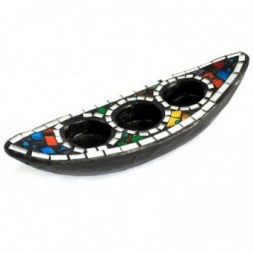 Moroccan Mosaic Tri-Candle Holder