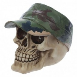 Camouflage Hat Skull Ornament