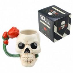 Skull and Rose Ceramic Mug