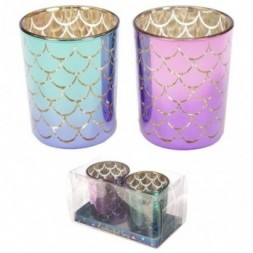 Glass Candleholder Set of 2 - Mermaid Tail Design