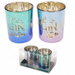 Glass Candleholder Set of 2 - Gin Slogans