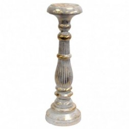 Large Candle Stand - White and Gold
