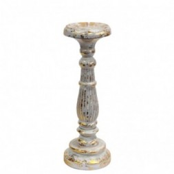Medium Candle Stand - White and Gold