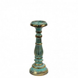 Small Candle Stand - Turquoise and Gold