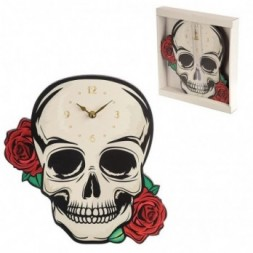 Skull with Red Roses Wall Clock