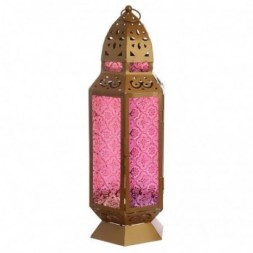 Tall Gold Glass Moroccan Style Standing Lantern
