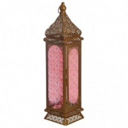 Tall Pointed Gold Glass Moroccan Style Standing Lantern