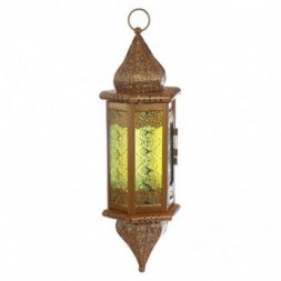 Pointed Gold Glass Moroccan Style Hanging Lantern