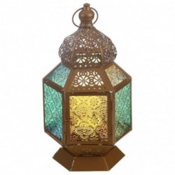 Floral Fretwork Gold Glass Moroccan Style Standing Lantern