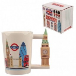 Big Ben Shaped Handle Ceramic Mug