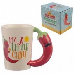 Chilli Pepper Shaped Handle Ceramic Mug