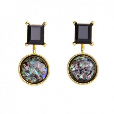 Black Geometric Acrylic Kaleidoscope  Stud Earrings