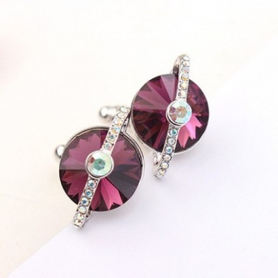 Purple Swarovski Crystal Cufflinks