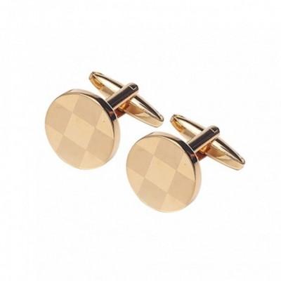 Round Laser-Cut Gold plated Cufflinks