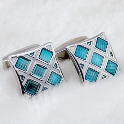 Rhodium & Blue Enamel Cufflinks