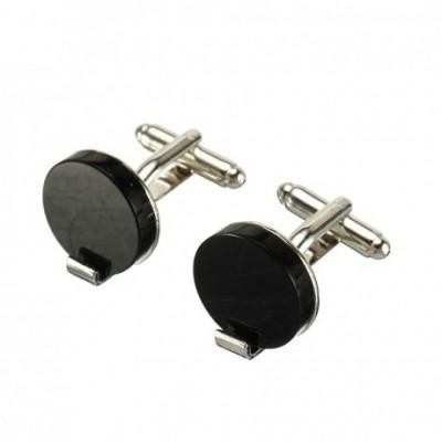 Black Circular Silver Cufflinks