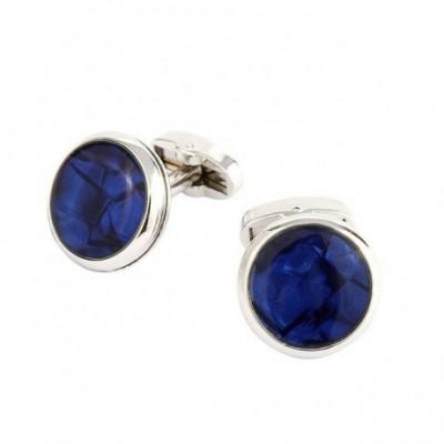 Blue Round Silver Cufflinks