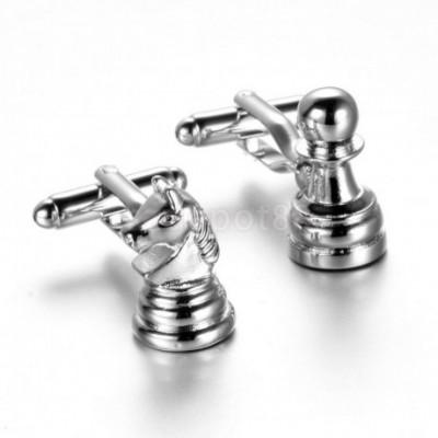 Chess Pawn & Knight Silver Cufflinks