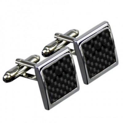 Black Grid Stainless Steel Cufflinks