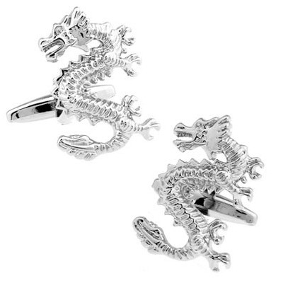 Dragon Oriental Silver-colour Cufflinks
