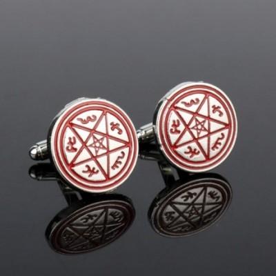 Pentagram Red & Silver Cufflinks