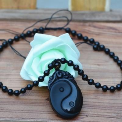 Ying Yan Obsidian Amulet Necklace