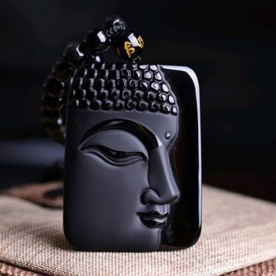 Buddha Head Carving Amulet Necklace