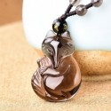 Fox Carved Ice Obsidian Amulet Necklace