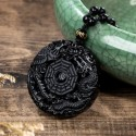 Yin Yang Dragon and Phoenix Obsidian Amulet Necklace