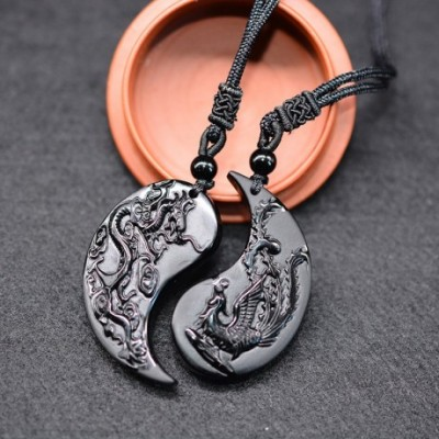 Dragon and Phoenix Carved Obsidian Pendant Necklaces Set