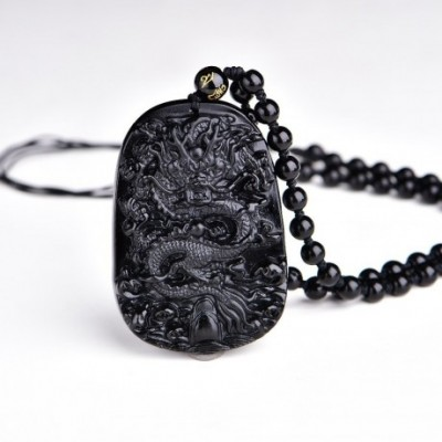 Dragon Carved Obsidian Amulet Necklace